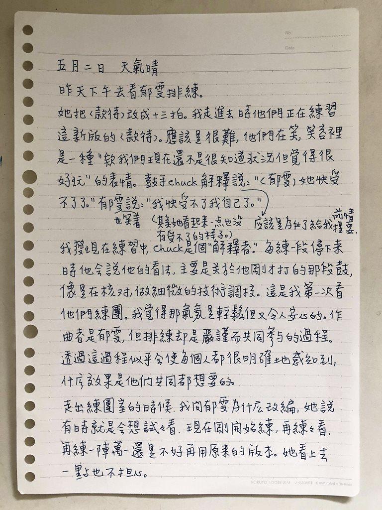 張惠菁, 日記